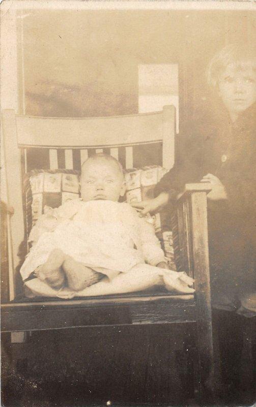 G58/ Interesting RPPC Postcard c1910 Beautiful Children Chair 17