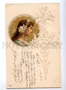 189563 ART NOUVEAU Nymph LILIE Fairy Vintage EMBOSSED PC