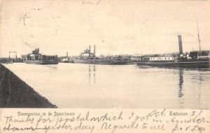 Enkhuizen Netherlands Steamship Entering Harbor Antique Postcard K13025
