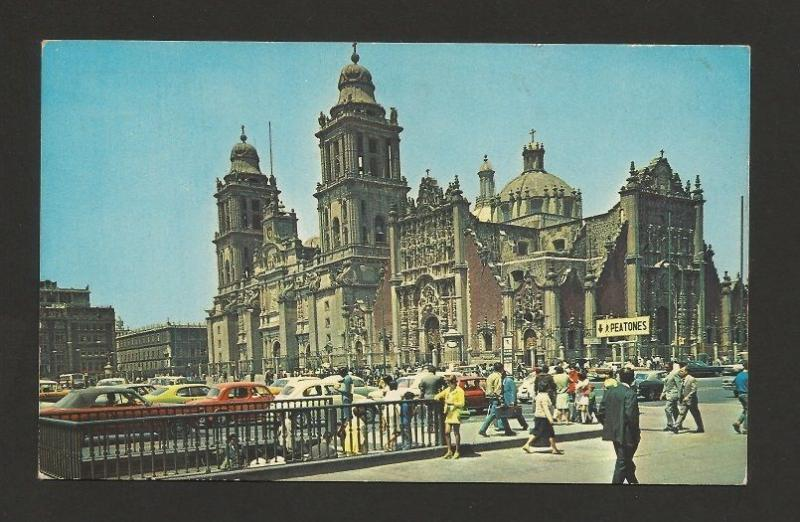 MEXICO street scene classic cars car automobiles 1960years postcard z1