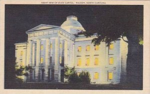 North Carolina Raleigh Night View Of State Capitol 1948 Albertype
