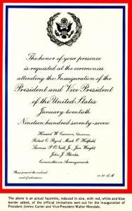 President Jimmy Carter Inauguration Invitation