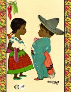 One Postcard Hispanic Girl and Boy on background of Oilette Hot Peppers Pattern