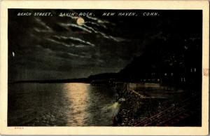 Beach Street in Moonlight at Savin Rock Park New Haven CT Vintage Postcard O20