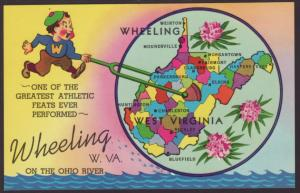 West Virginia Map Postcard