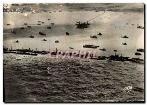 Postcard Modern Army world war 2 Unloading in Normandy Aerial view of the art...
