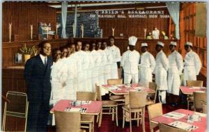 1940s Waverly, NY Postcard O'BRIEN'S RESTAURANT Black Waitstaff Linen Unused