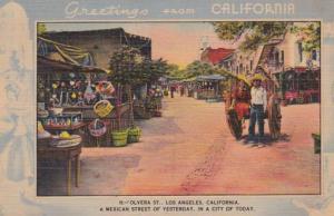 California Los Angeles Greetings Olvera Street Blue Border