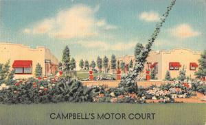 North Platte Nebraska Campbells Motor Court Street View Antique Postcard K100948