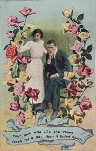 Romantic Couple Surrounded By Roses In Shape Of Horseshoe