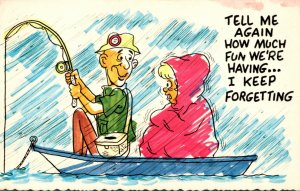 Humour Couple Fishing In The Rain Tell Me Again How Much Fun We're Having