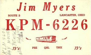 Vintage QSL Postcard   KPM 6226   Lancaster, Ohio   Jim Myers  -T-