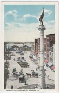 NORFOLK , Virginia , 1910s ; Confederate Monument