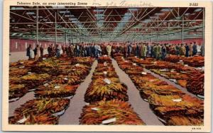 1940s Linen Postcard Tobacco Sale, an Ever Interesting Scene Warehouse Auction