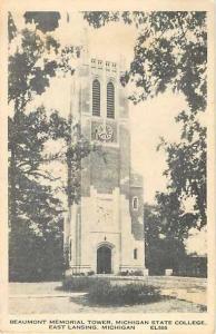 W/B Beaumont Memorial Tower Michigan State College East Lansing, MI