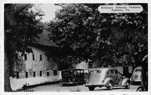 Ephrata Pennsylvania~Ephrata Cloisters Entrance~Parked Cars~1940s Postcard