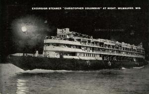 WI - Milwaukee. Excursion Steamer Christopher Columbus at Night