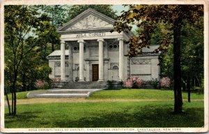 NEW YORK Chautauqua 1911 NY postcard Institution Hall of Christ Aula Christi