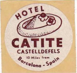 SPAIN BARCELONA HOTEL CATITE VINTAGE LUGGAGE LABEL