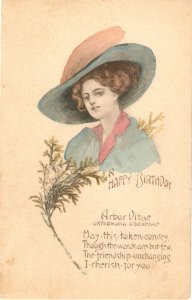 Pretty lady. Fantasy Har. Aror Vitae Oldvintage antique American Birthday PC