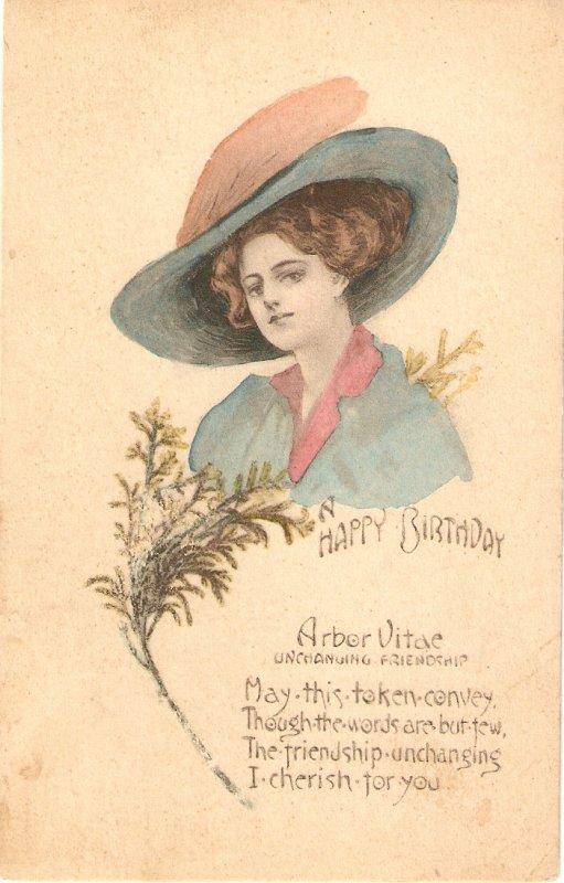 Pretty lady. Fantasy Har. Aror Vitae Oldvintage antique American Birthday PC