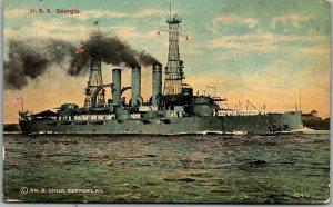 Vintage 1910s U.S. Navy Ship Postcard U.S.S. CONNECTICUT Battleship Unused