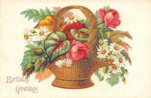Wicker Basket Of Flowers: Pink Red Roses~Daisies~Fern Greener~Embossed~Germany