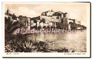 Old Postcard Calvi The High And The Quays City