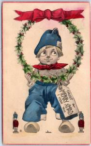 Artist-Signed WALL Christmas Postcard Dutch Boy w/ Holly Wreath 1913 Cancel