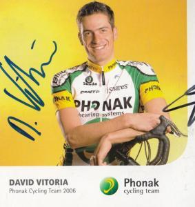David Vitoria Spanish Cycling Champion Phonak Team Hand Signed Photo