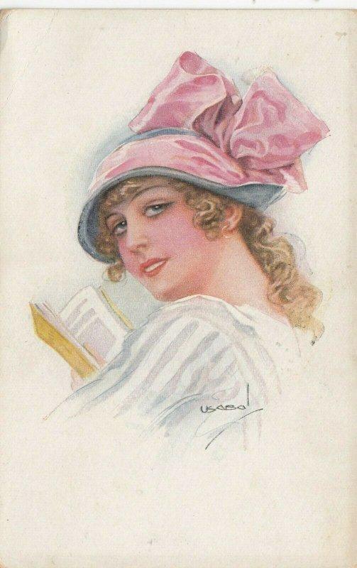 Woman portrait , 1900-10s ; #33A ; Artist Usabol