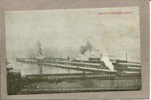 .. Postcard WA Seattle Great Northern Docks Harbor Steam Ships c1915 2649N