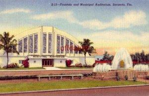 FOUNTAIN AND MUNICIPAL AUDITORIUM. SARASOTA, FL