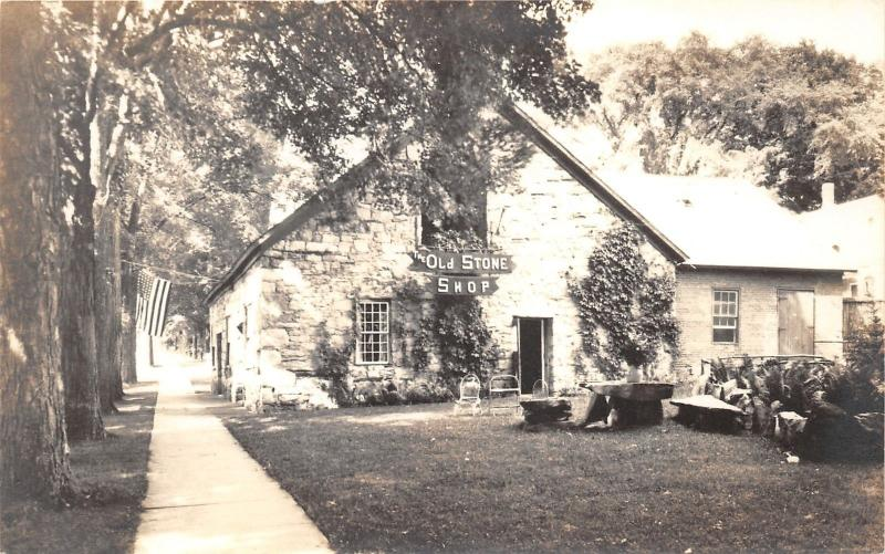 Wallingford Vermont~The Old Stone Shop~Stone Building~Chairs in Yard~1950s RPPC