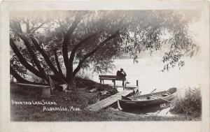 D96/ Albert Lea Minnesota Mn Real Photo RPPC Postcard c1910 Fountain Lake Boat