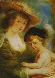 Helene Fourmant with her son, Peter Paul Rubens Postcard