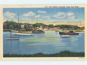 Linen HARBOR SCENE Cape Cod - Hyannis Massachusetts MA hp7801