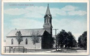 EDON, Ohio Postcard LUTHERAN CHURCH Building / Street View Auburn PC 1922 Cancel