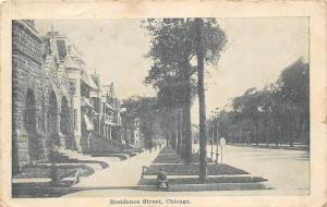 Chicago Illinois~Residence Street~Boy Sitting on Sidewalk~Houses on Left~1908 Pc