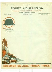 1919 Falmouth Garage & Tire Co. Maine to Mr. D. Tarshias Letter Head LH1.
