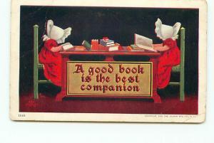 Postcard Good Book Best Companion Two Little Girls in Bonnets Ullman Mfg # 2280A