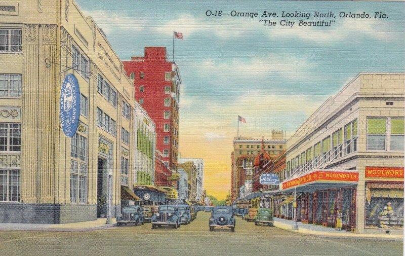Florida Orlando Orange Avenue Looking North Woolworth Curteich sk5912