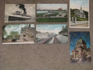 Canada-6 Early Post Cards, some creasing & Corner wear, used Vintage cards