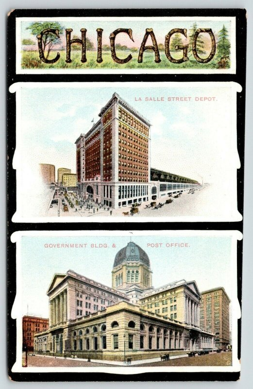 Chicago~La Salle Street Depot~Courthouse & Post Office~Rustic Large Letter 1905