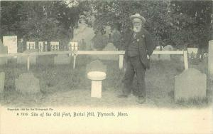 Burial Hill Old Fort Postcard Plymouth Hill Rotograph undivided 2850