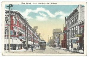 King Street (East), Hamilton, Ontario PPC Unposted, Show Tram & Shopfronts
