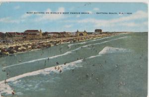 Daytona Beach FL surf bathing 1955 Postcard