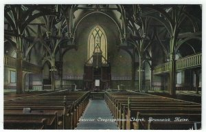 Brunswick, Maine, Vintage Postcard View of The Congregational Church Interior