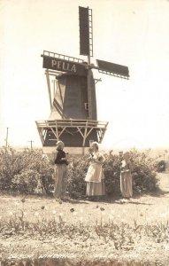 RPPC Dutch Windmill, Pella, Iowa Vintage Real Photo Postcard 1941