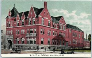 Mansfield, Ohio Postcard YMCA Building Boarding House Street View 1909 Cancel